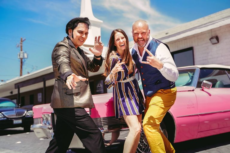 Elvis and Pink Cadillac with Wedding Couple