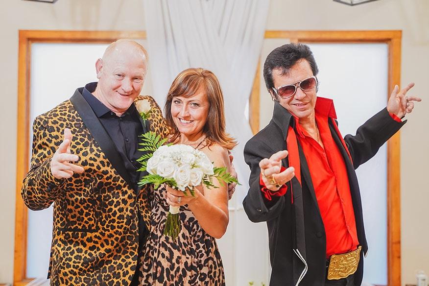 Elvis with Wedding Couple
