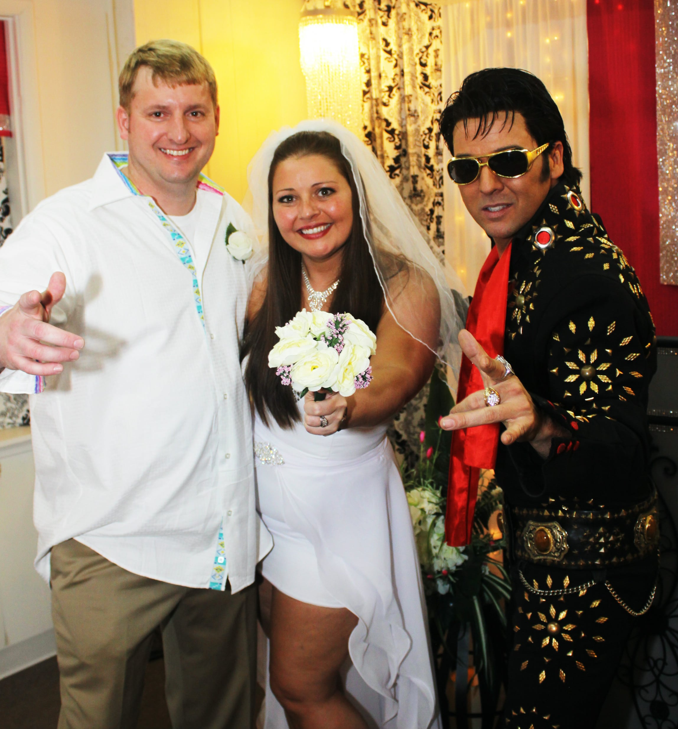 Elvis with Bride and Groom