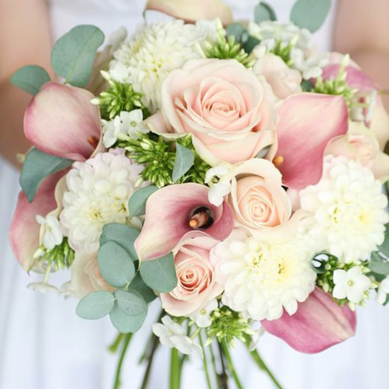 Pink Wedding Bouquet and Boutonniere