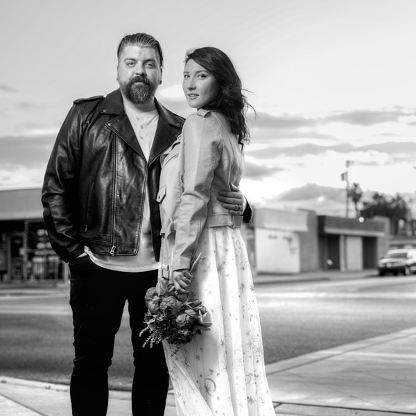 Wedding couple outdoor street photo