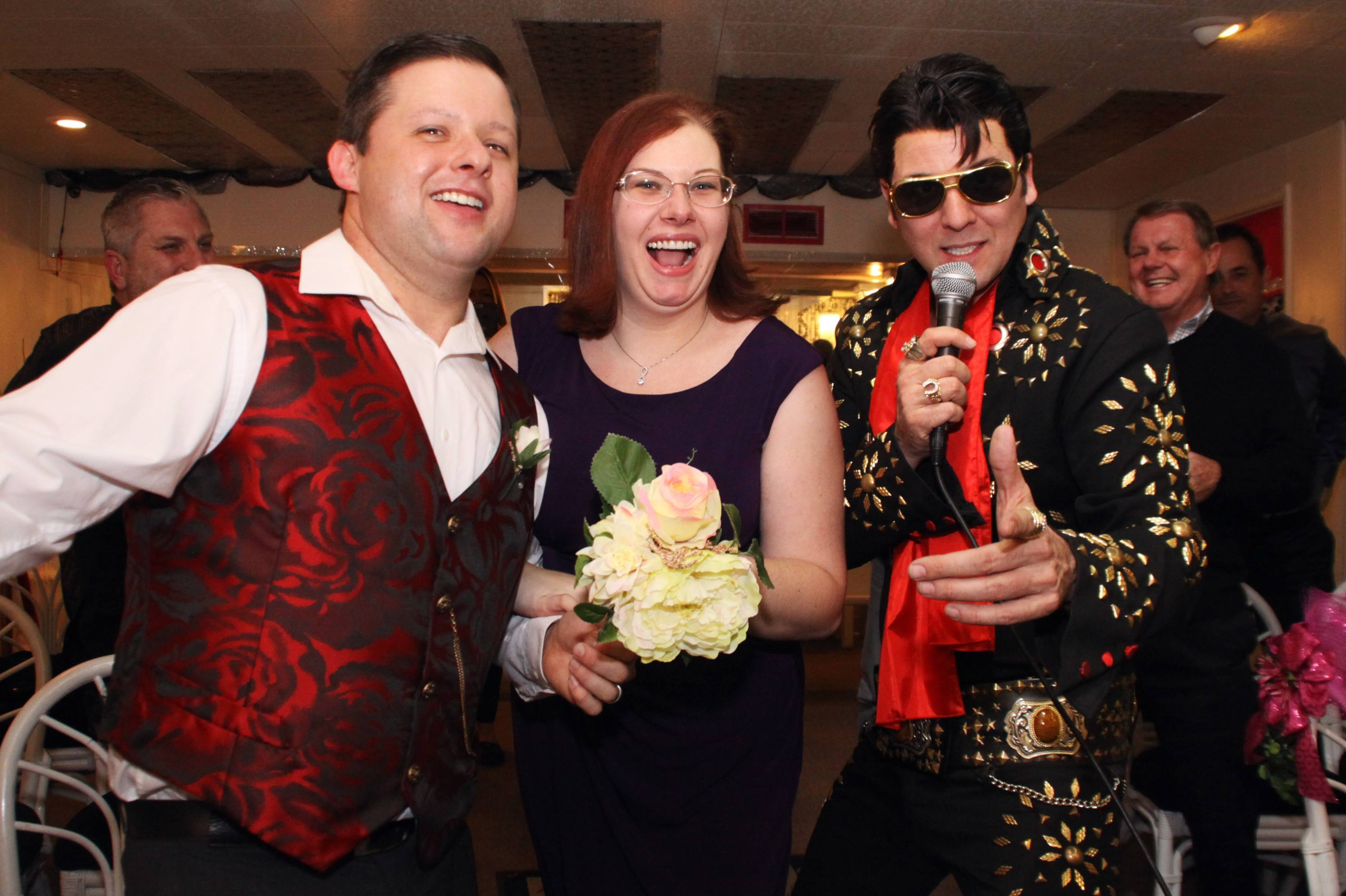 Friends and family laugh and sing with Elvis