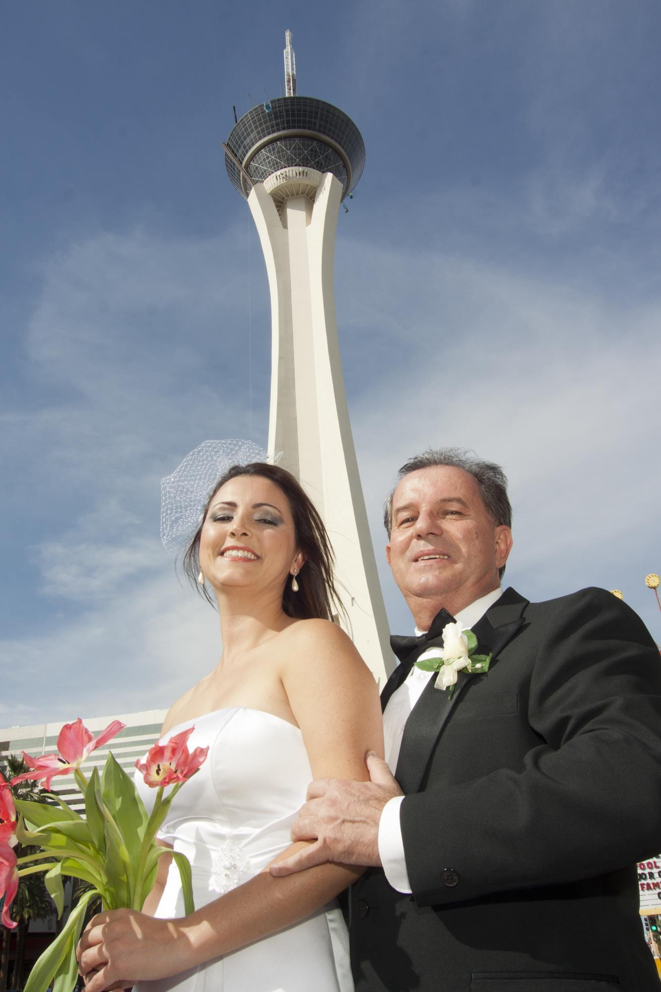at our little las vegas elvis wedding chapel the view is great of the stratosphere