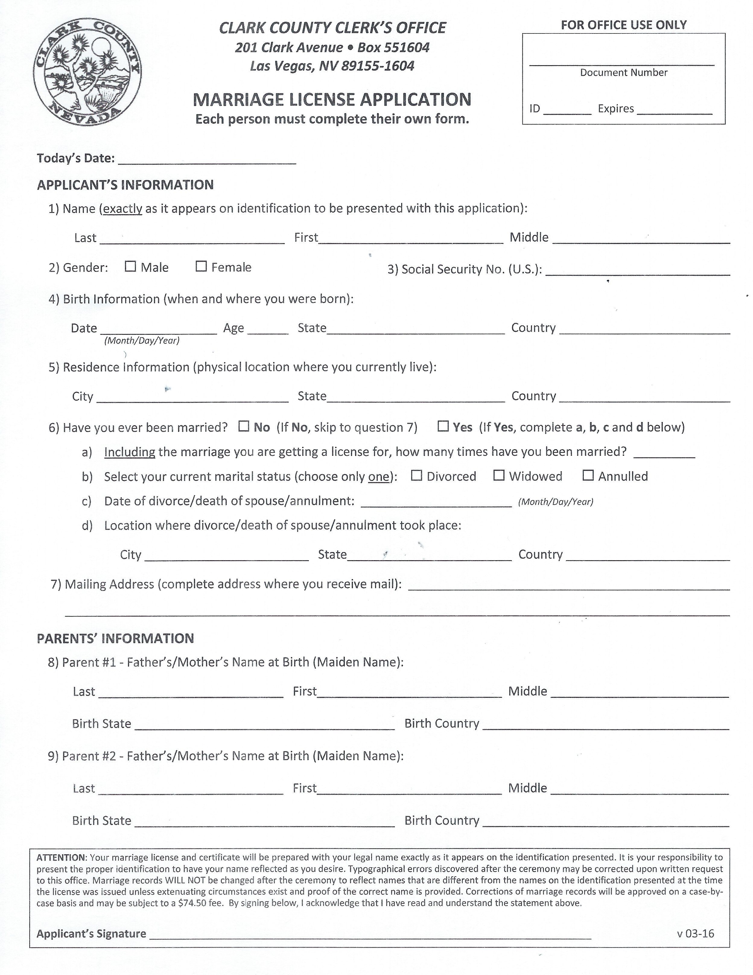 Marriage License Application Little Vegas Chapel The Little Vegas