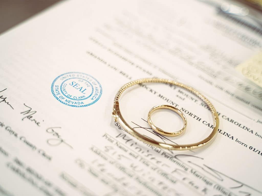 Marriage License and Ring Photo from the Little Vegas Chapel Wedding