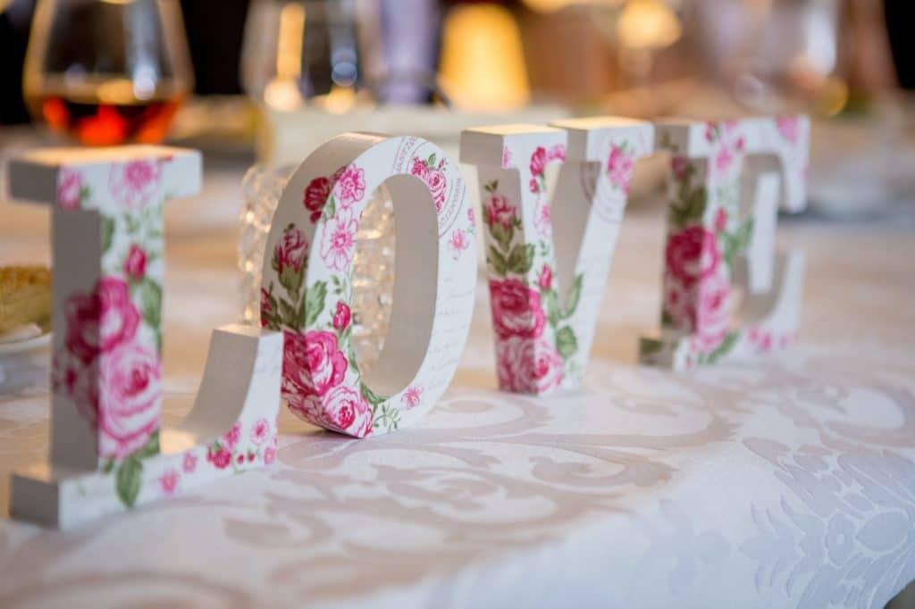 Wedding Letters Spelling Love