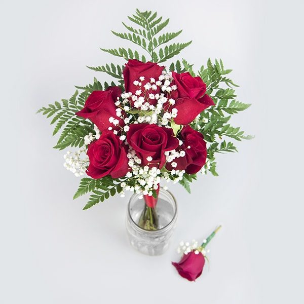 6 Rose Bouquet Boutonniere