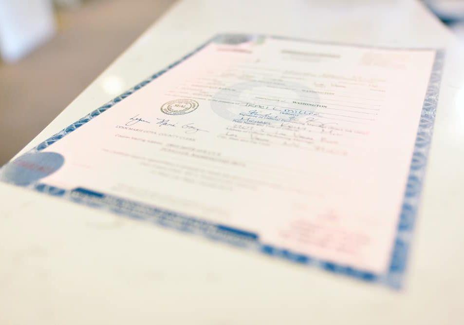 Las Vegas Official Marriage License