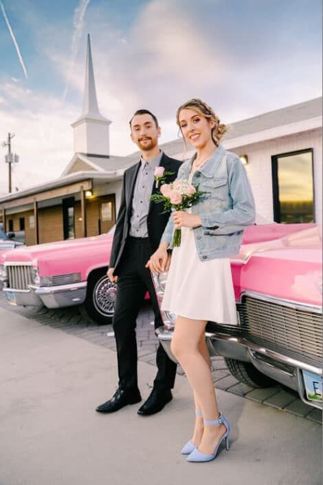 Just Married Couple at Wedding at The Little Vegas Chapel with Vintage Cars