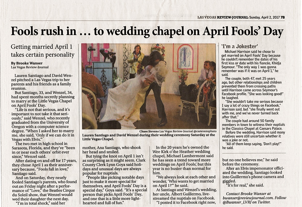 Fools Rush In Wedding Chapel April Fool's