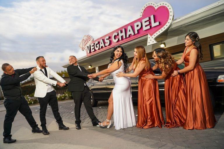 Little Vegas Chapel Wedding With Groomsmen and Bridesmaids