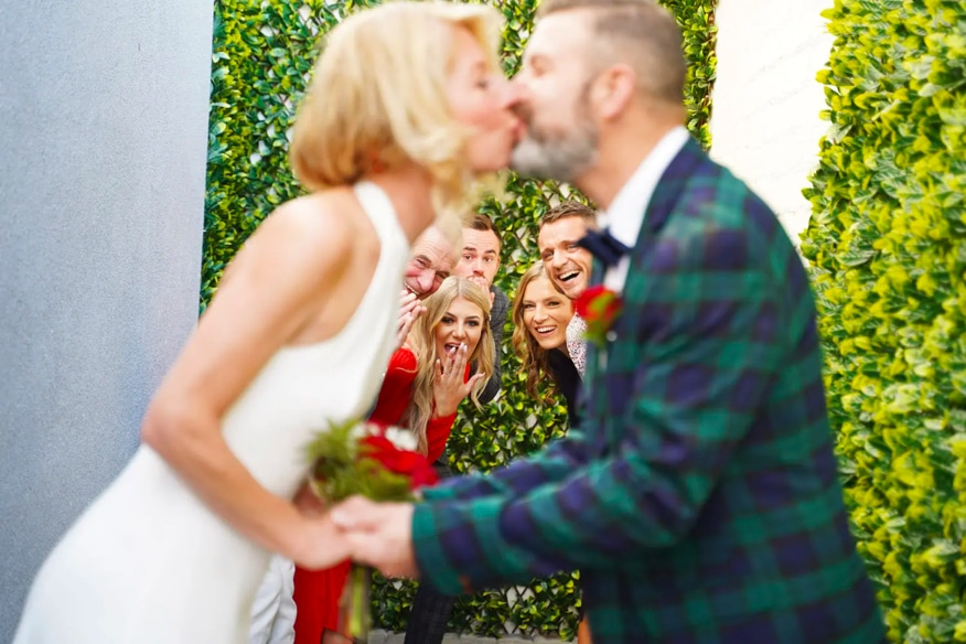 Couple Kissing on Wedding Day at the Little Vegas Chapel